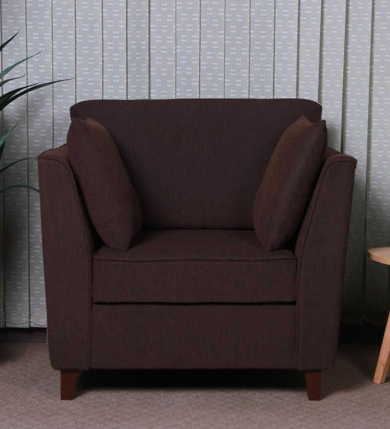 Miranda One Seater Sofa in Chestnut Brown Colour by CasaCraft