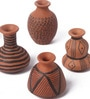 Brown & Black Metal Earthen Ware with Hand Paint Mini Vase - Set of 6 by Gupta Glass Gallery