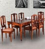 Minto Six Seater Dining Set in Honey Oak Finish by Amberville
