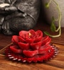 Red Kundan Lotus Flower Candle by Candles N Beyond