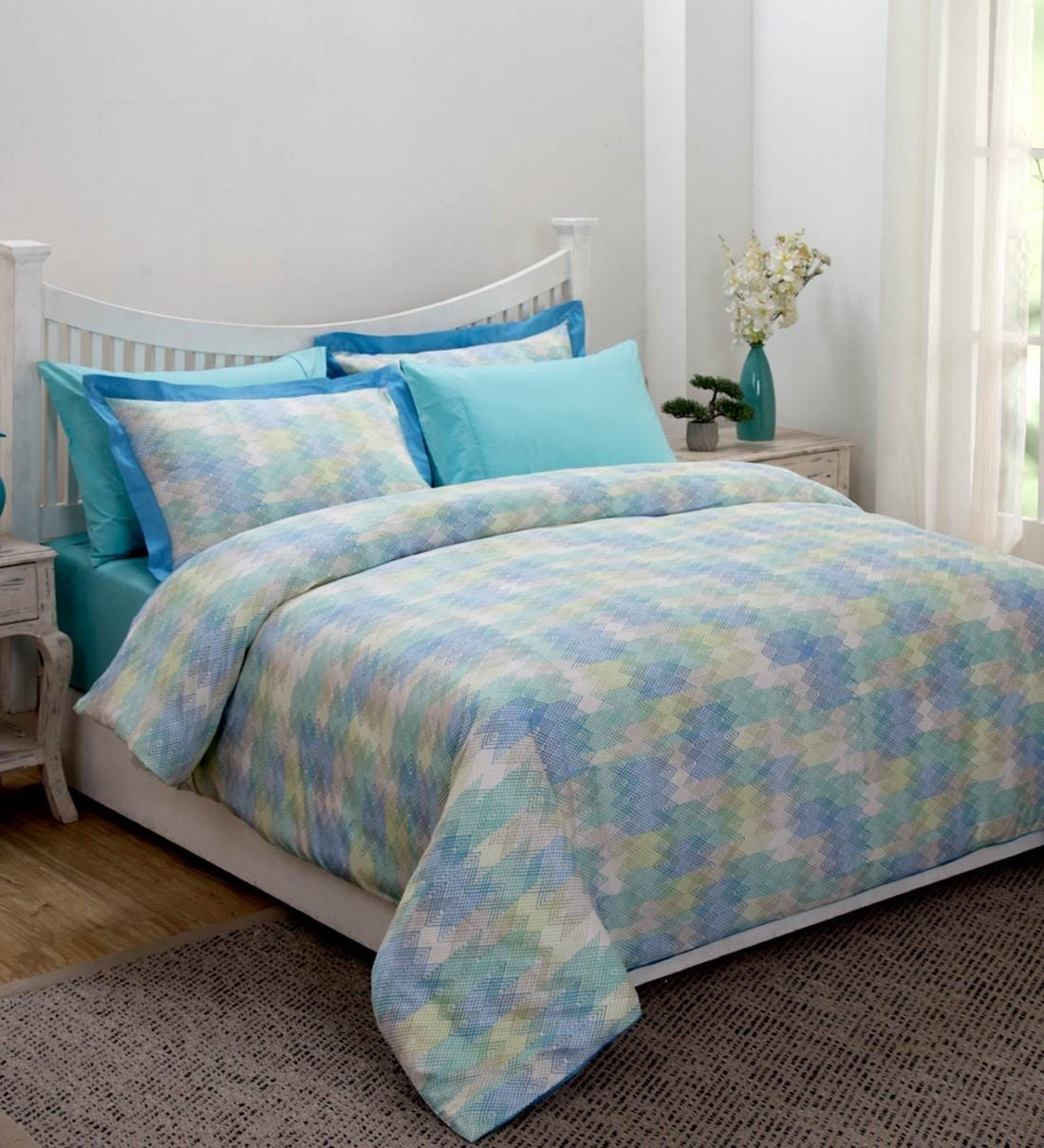 Buy Modern Aesthetic Blue Cotton 108x90 Double Bed Duvet Cover By Maspar Online Double Bed Duvet Covers Duvet Covers Furnishings Pepperfry Product
