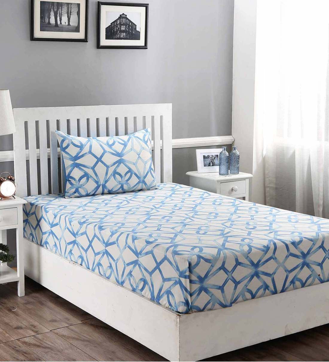 Buy Modern Aesthetic Cotton 210 Tc Single Bedsheet With 1 Pillow Cover By Maspar Online Solid Single Bed Sheets Bed Sheets Furnishings Pepperfry Product