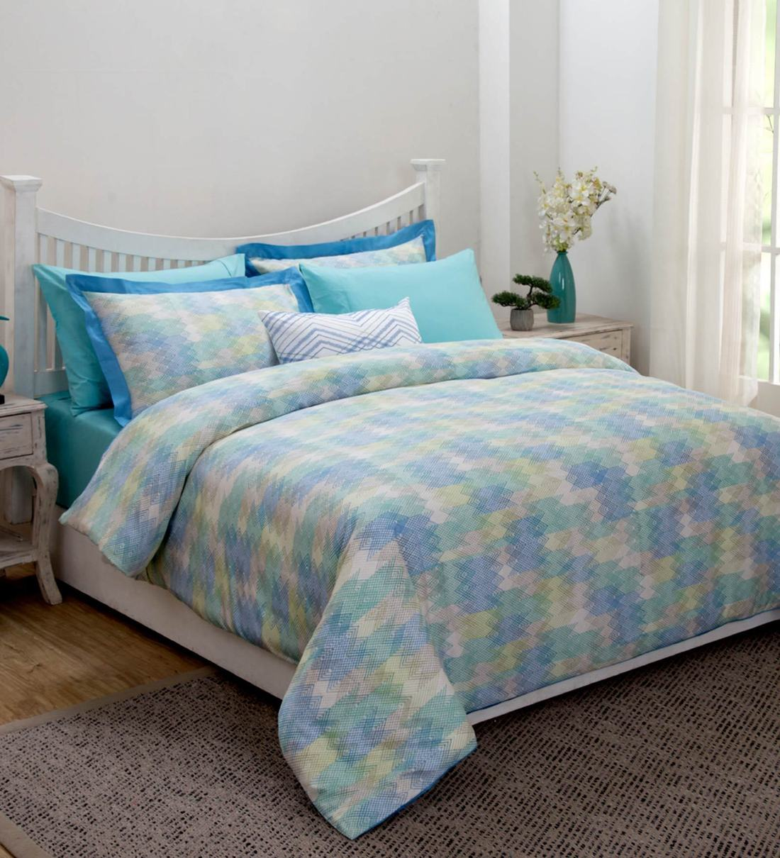 Buy Modern Aesthetic Cotton 7 Pieces Double Bedding Set By Maspar Online Bedding Sets Bedding Sets Furnishings Pepperfry Product