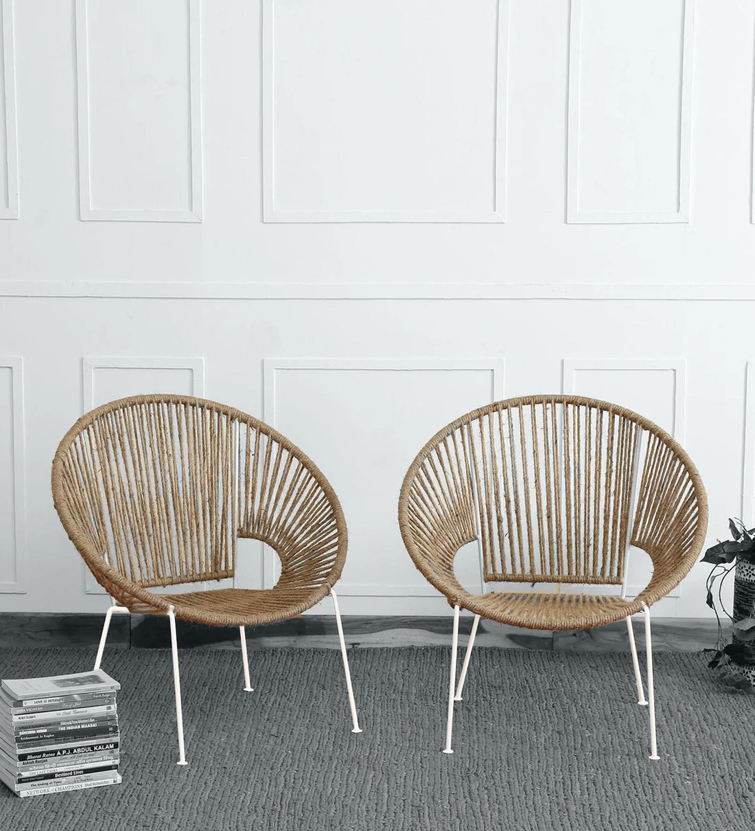 Elio Jute Cafe Chair (Set Of 10) In White & Natural Finish