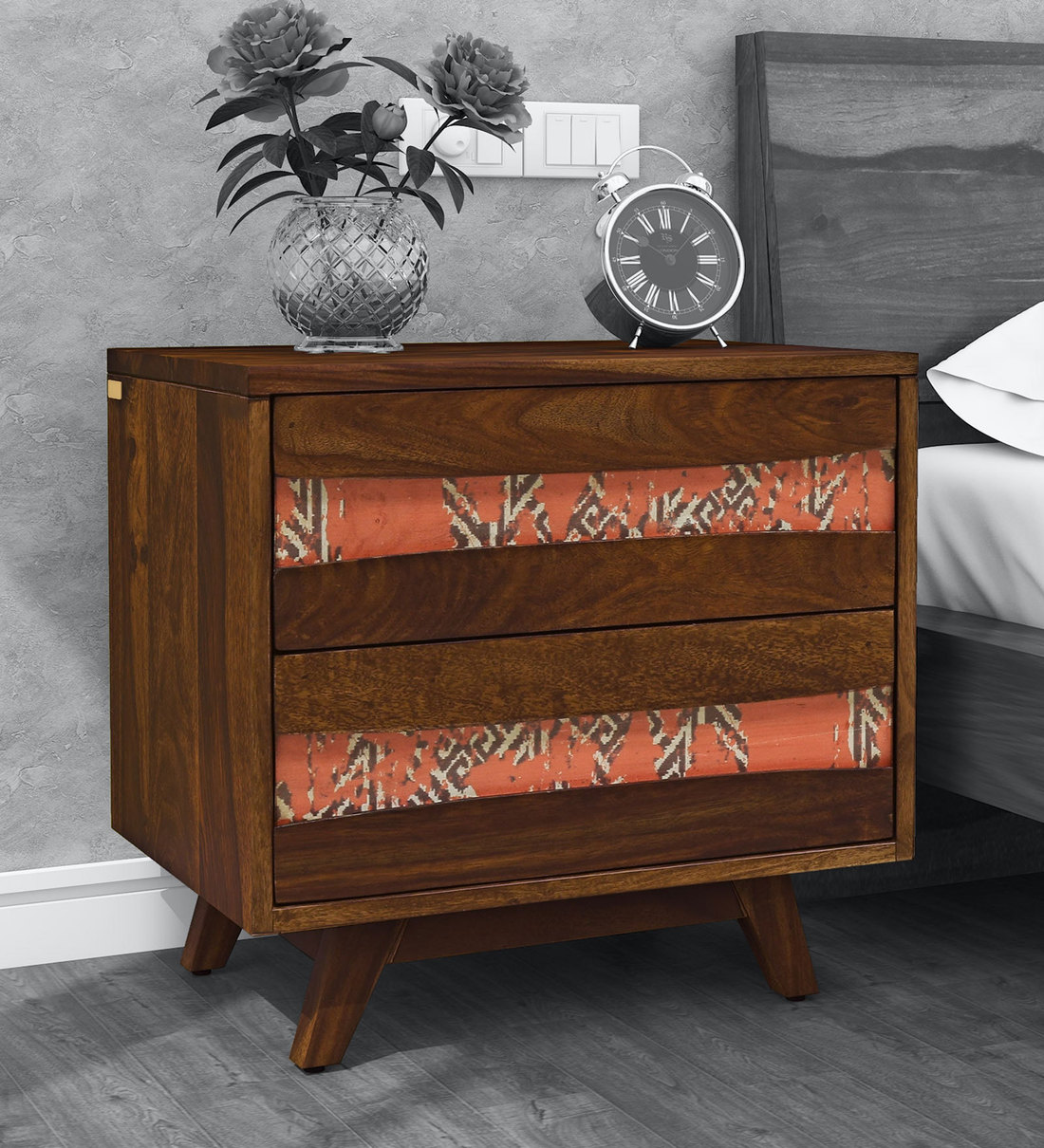 Buy Mombassa Solid Wood Bedside Table In Provincial Teak Finish By Woodsworth Online Contemporary Night Stands Tables Furniture Pepperfry Product