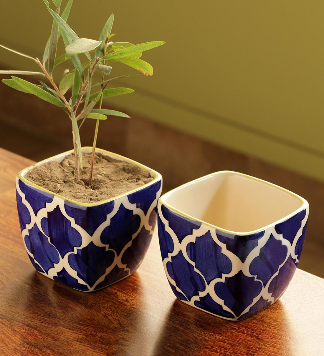 Buy Moroccan Roots Handpainted Ceramic Pot Set Of 2 By Exclusivelane Online Desk Pots Pots Planters Home Decor Pepperfry Product