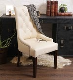 Accent Chair in Genuine Leather with Tufted Back in Cream Colour