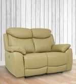 Motorized Two Seater Half Leather Recliner in Taupe Colour