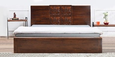 Monalisa Queen Bed with Storage in Walnut & Caramel Colour