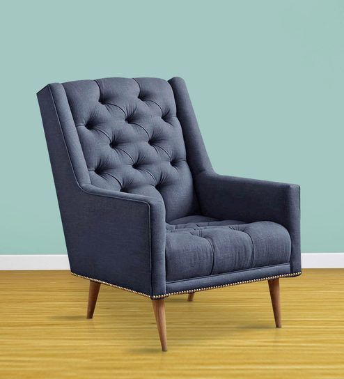 Buy Modern Accent Chair with Slanted Back u0026 Nailhead trims in Blue Colour by Afydecor Online - Arm Chairs - Arm Chairs - Furniture - Pepperfry Product & Buy Modern Accent Chair with Slanted Back u0026 Nailhead trims in Blue ...