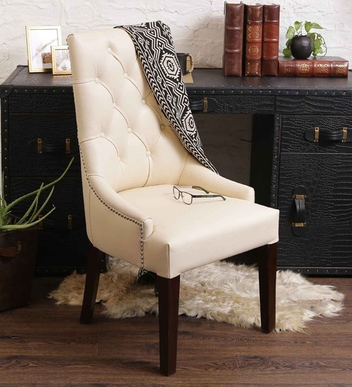 Sensational Accent Chair In Genuine Leather With Tufted Back In Cream Colour By Studio Ochre Ocoug Best Dining Table And Chair Ideas Images Ocougorg