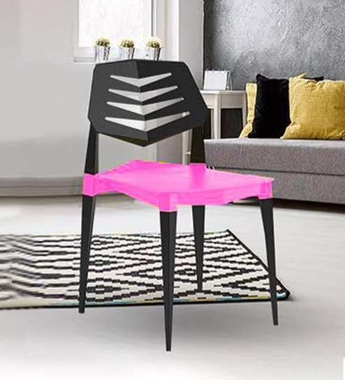 Buy Vecto Modern Plastic Chair In Pink Black Colour By Workspace