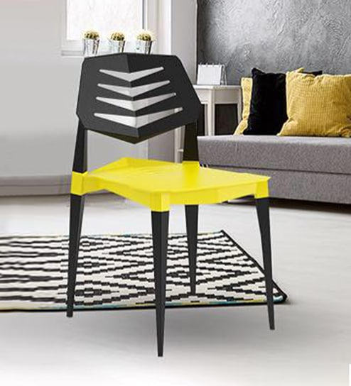 Vecto Modern Plastic Chair In Yellow Black Colour By Worke Interio