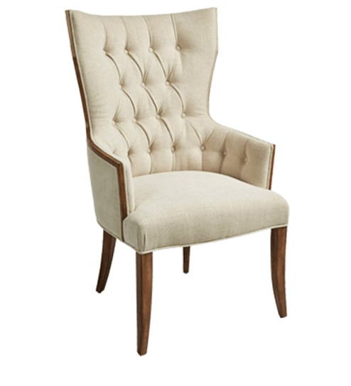 modern high back wing chair with wood trim on frame in ivory colour by afydecor