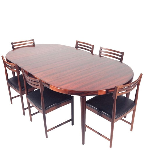 Attractive Modern Six Seater Dining Set With Oval Shaped Table By Afydecor