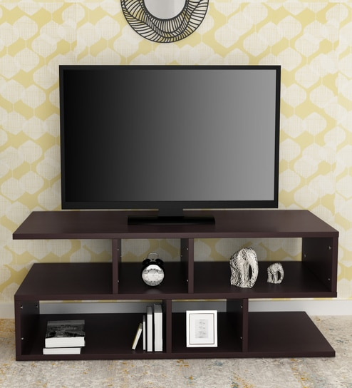What To Look For When Buying Your Units: Buy Modern Z Shaped TV Unit In Matte Brown Finish By