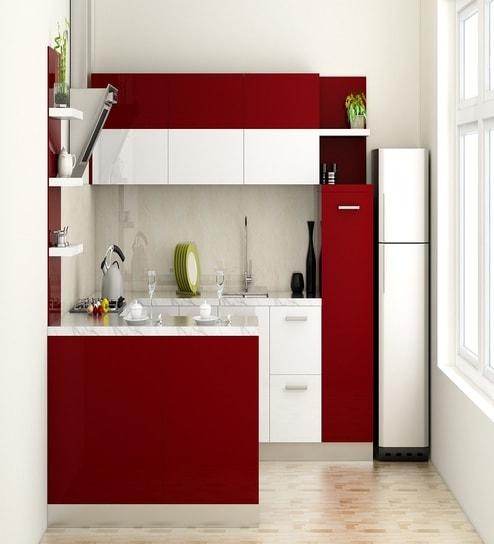 Colourful Modular Kitchen Design: Buy Modular Kitchen In Burgundy By Rawat Online