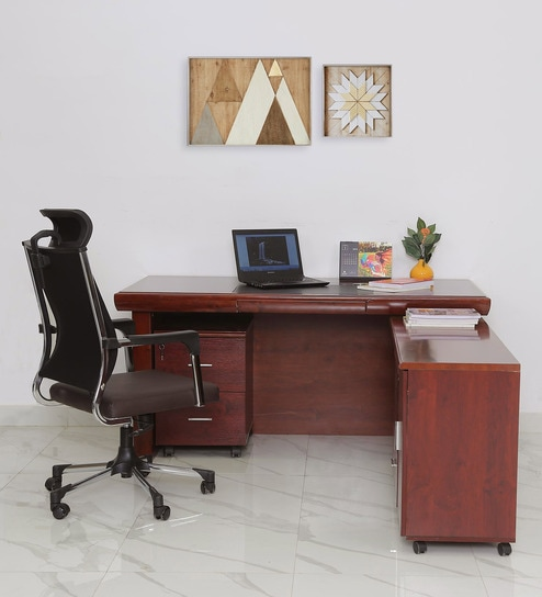 Montana Executive Office Table With Side Runner Drawer Cart In Brown Polish By Star India