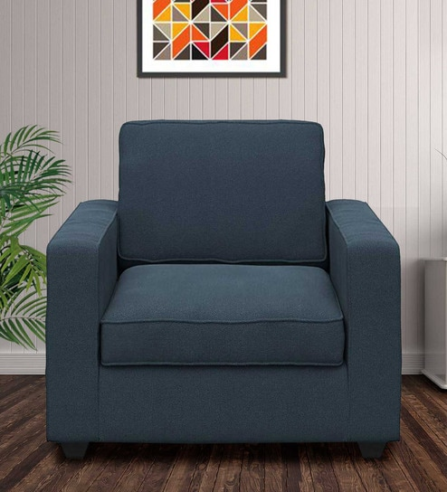 Montreal Single Seater Sectional Sofa in Blue Colour by Forzza