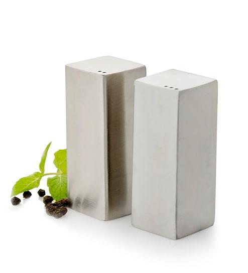 Mosaic Silver Stainless Steel Salt & Pepper Shaker - 2 Pcs