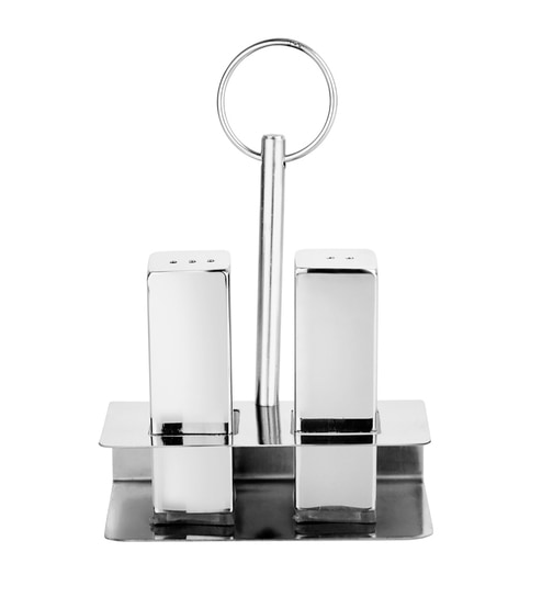 Mosaic Silver Stainless Steel Salt & Pepper Shaker with Stand - 2 Pcs
