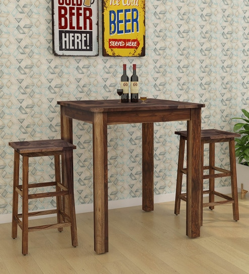 Mosaic Solid Wood Bar Table With Two Stools In Rustic Teak Finish By Woodsworth