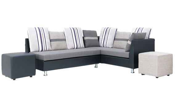 Walton Five Seater Corner Sofa In Grey Colour With 1 Pouffe