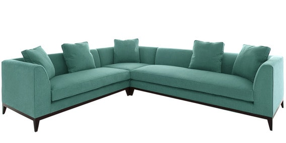 Modern Three Piece L Shaped Sofa With Plush Ters In Blue Colour By Afydecor