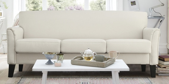 Modern Three Seater Upholstered Sofa In Off White Colour By Dreamzz Furniture Online Sofas Pepperfry Product