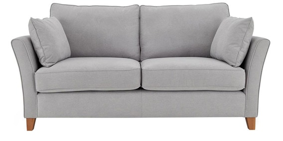 Modern Two Seater Sofa With Slim Slanted Arms In Light Grey Colour By Afydecor