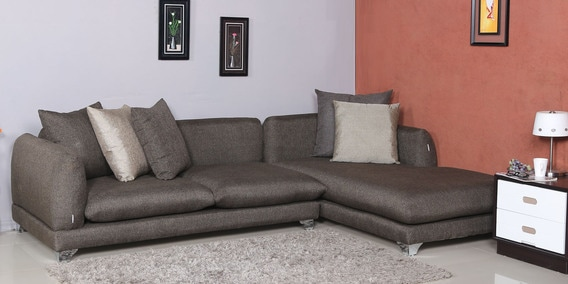 Monterio Three Seater Sofa With Lounger And Cushions In Brown Colour By Parin