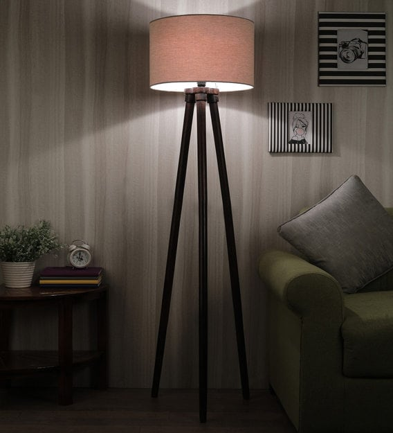 Buy Modern In Solid Wood Beige Fabric Shade Tripod Floor Lamp With Walnut Base By Sanded Edge Online Modern And Contemporary Floor Lamps Floor Lamps Lamps Lighting Pepperfry Product