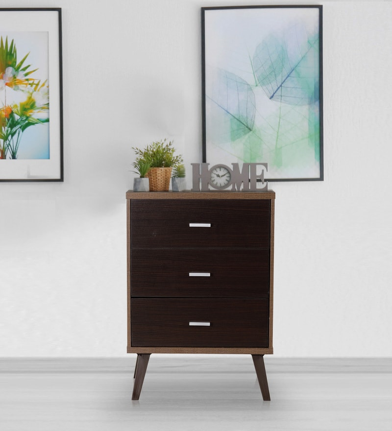 Buy Checkers Three Drawers Chester In Dark Acacia Walnut Matt Finish By Debono Online Modern