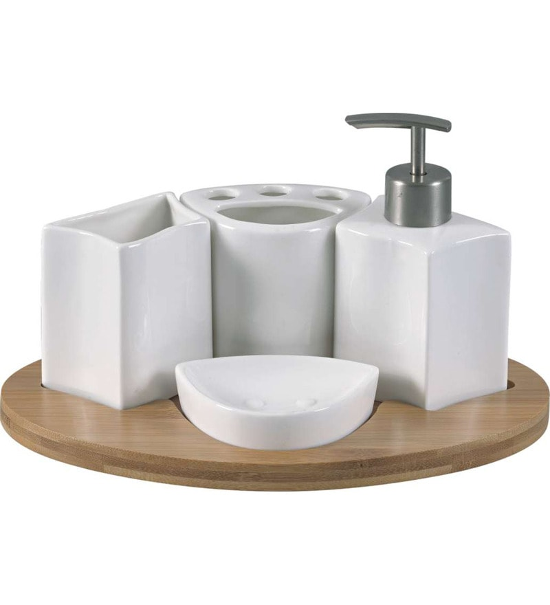 Bathroom Set With Tray : Mom italy ceramic bathroom set square with bamboo tray by