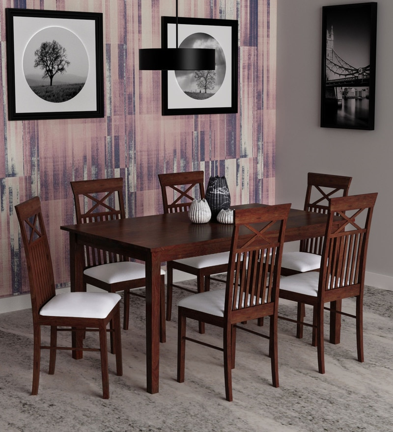 Dining Sets Online: Buy Momoko Six Seater Dining Set In Walnut Finish By