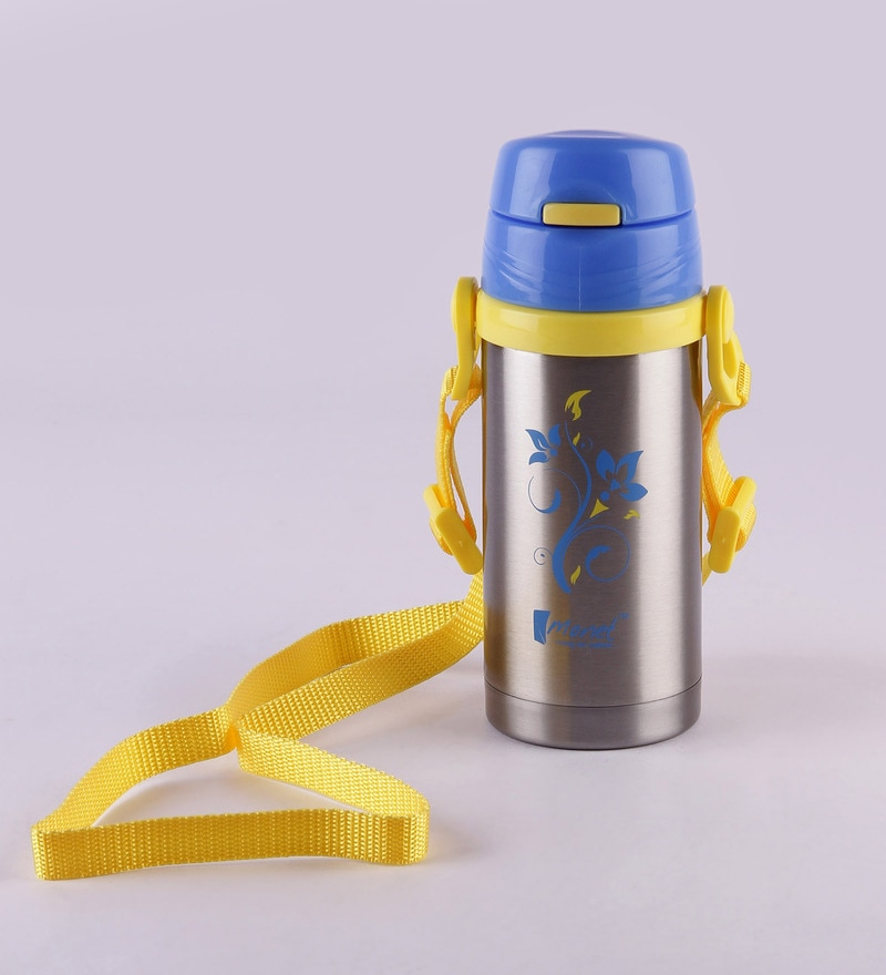 Monet Trendy Yellow and Blue Stainless Steel 350 ML Sipper Bottle