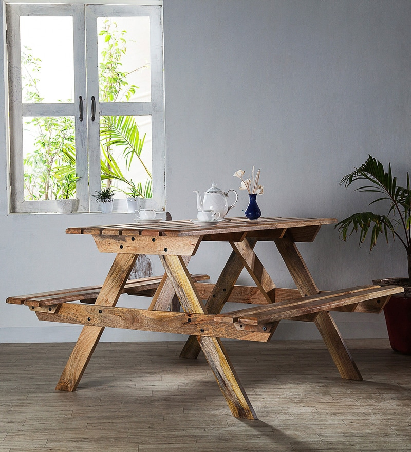 Lomira Four Seater Picnic Table in Natural Mango Wood Finish by Bohemiana