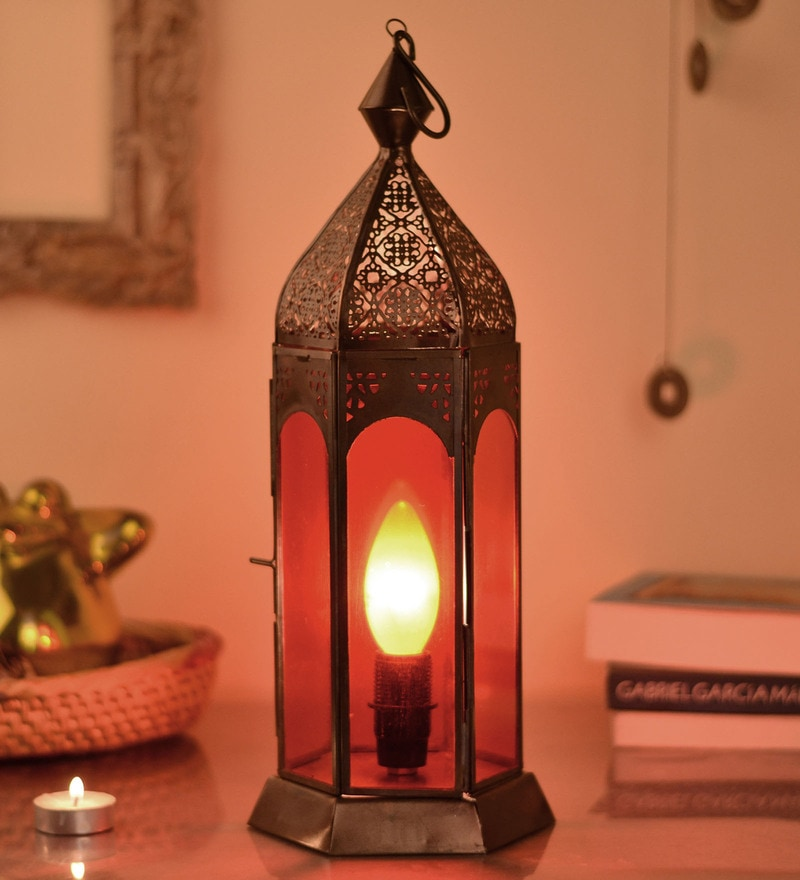 Red Metal Moroccan Lantern by Homesake