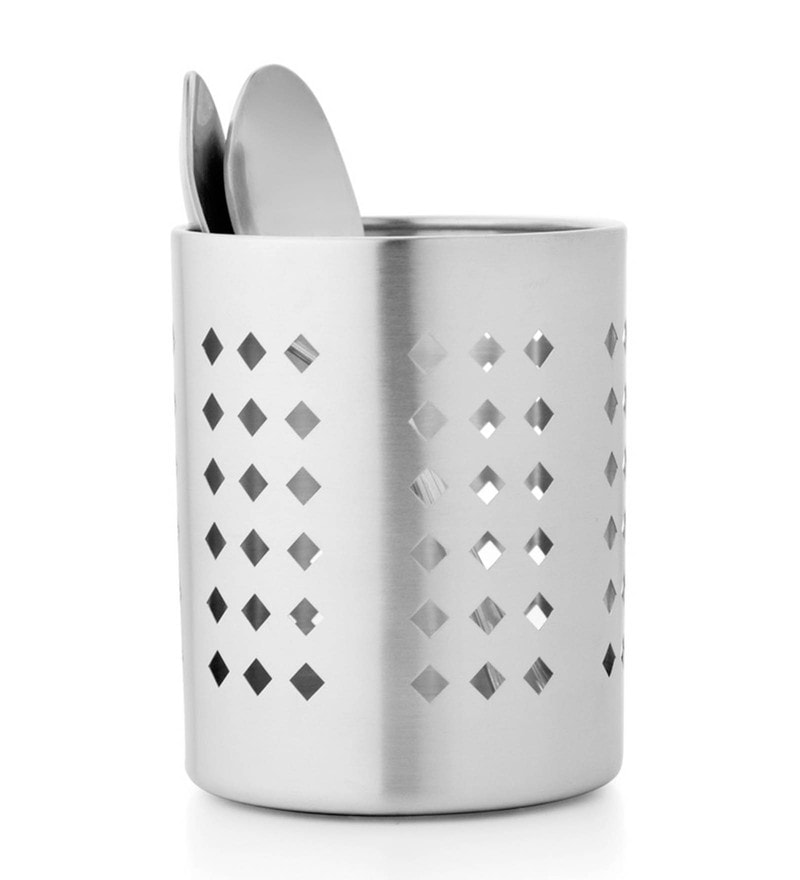 Mosaic Diamond Stainless Steel 4.4 Inch Cutlery Holder