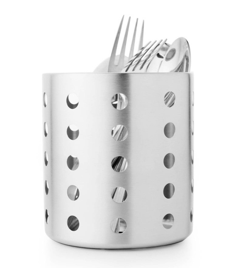 Mosaic Round Stainless Steel 4.8 Inch Cutlery Holder