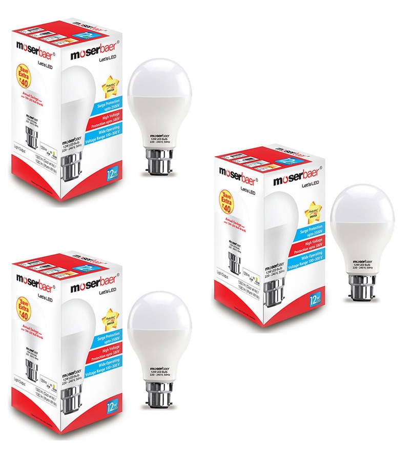 Moserbear Cool White 12W LED Bulbs - Set of 3