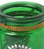 Green Metal Tea Light Holder with Short Hole by Gupta Glass Gallery