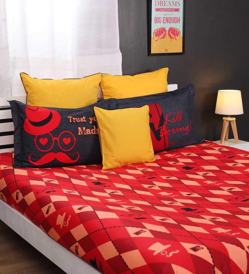 Mtv Red Cotton King Bedsheet by Portico New York