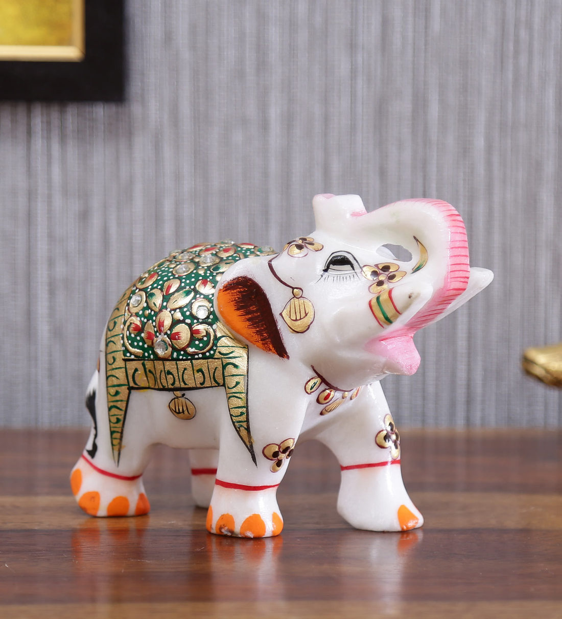 Buy Multicolor Marble Elephant Trunk Up Golden Emboss Green Figurine By Handicrafts Paradise Online Elephant Figurines Elephant Figurines Test Pepperfry Product