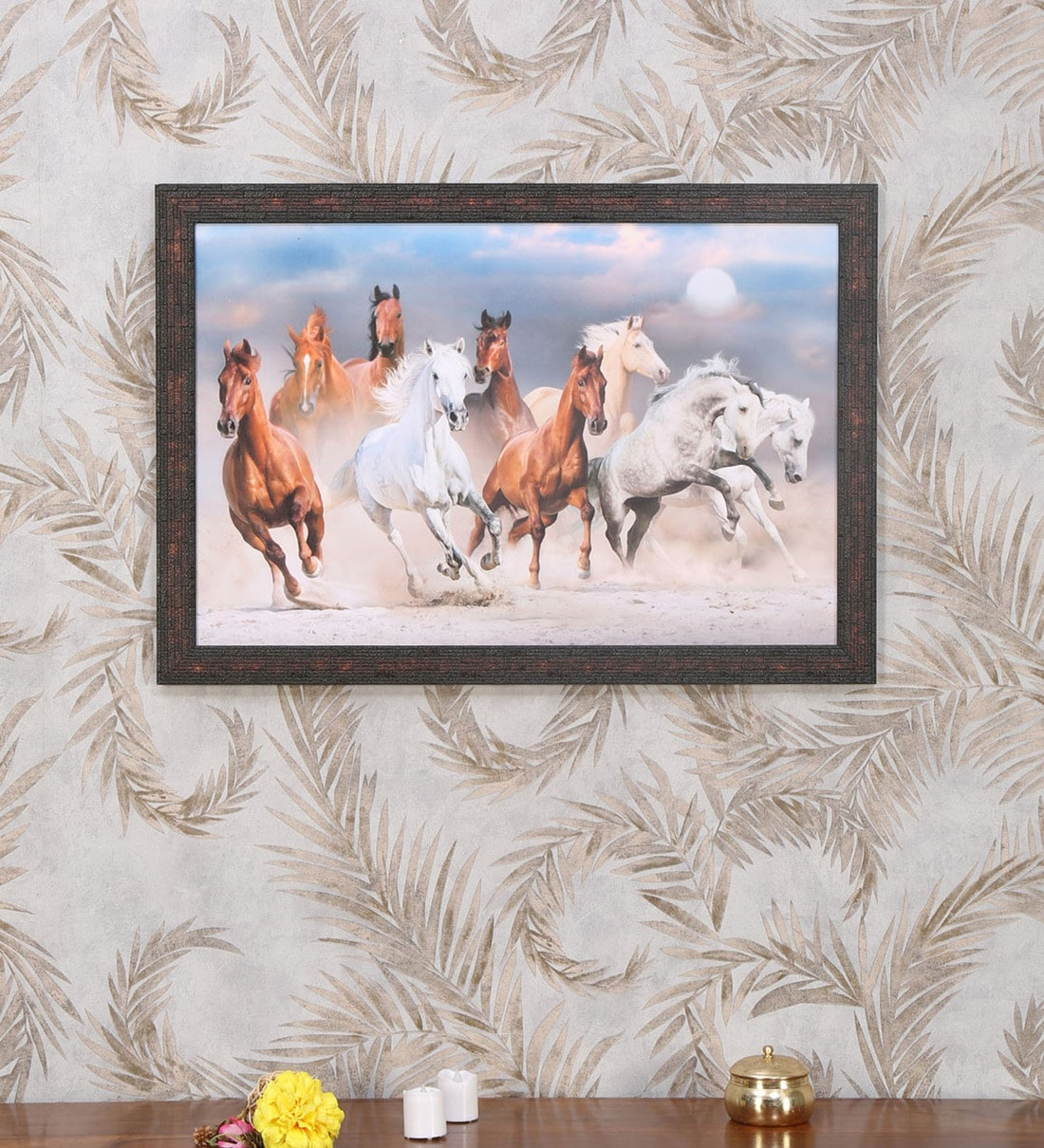 Buy Multicolor Mdf Running Horses Painting By Home Online Wildlife Art Prints Art Prints Home Decor Pepperfry Product