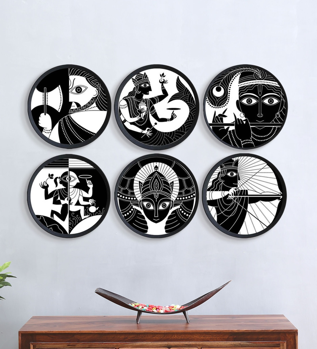 Buy Black Ceramic Indian Hand Painted Wall Decor Plates Set Of 6 By Craftedindia Online Wall Plates Wall Art Home Decor Pepperfry Product