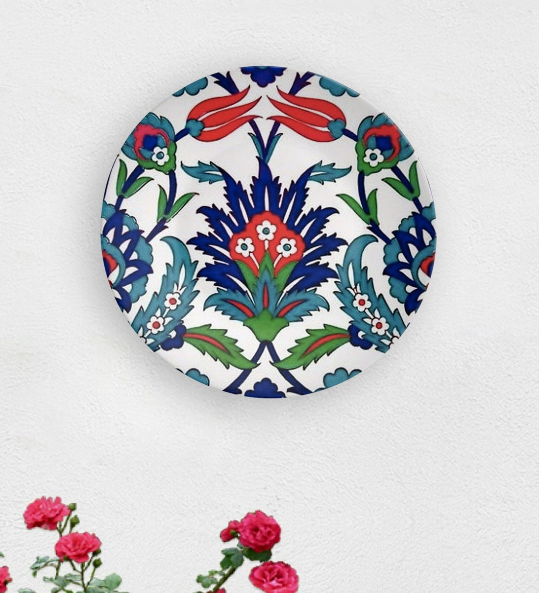 Buy Multicolour Ceramic Turkish Flower Within Decorative Wall Plate By Quirk India Online Wall Plates Wall Art Home Decor Pepperfry Product