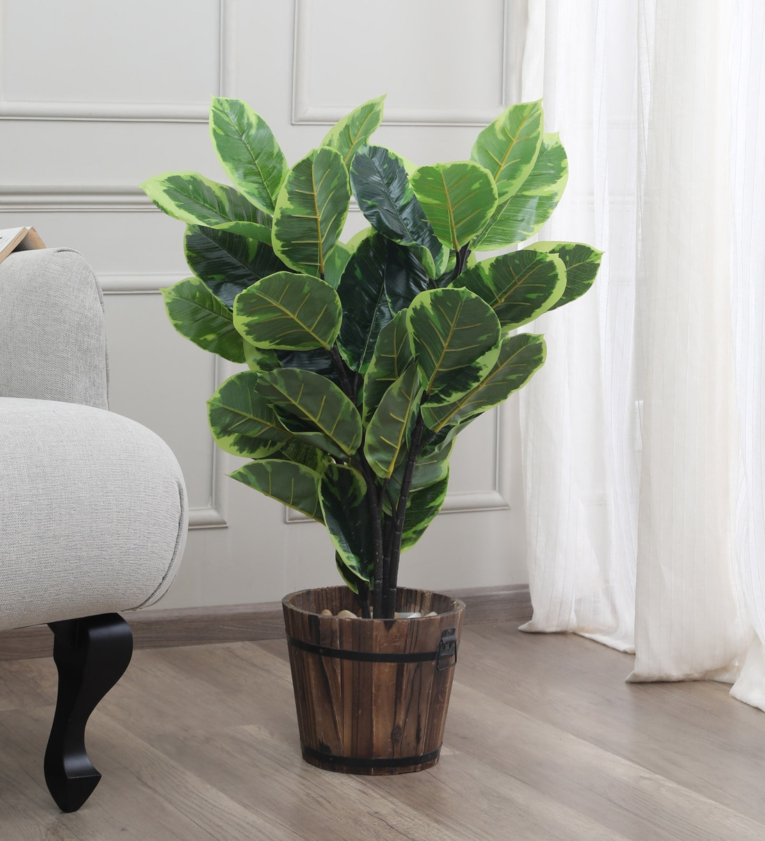 Buy Multicolour Fabric Artificial Rubber Plant Without Pot By Fourwalls Online Artificial Plants Artificial Plants Home Decor Pepperfry Product