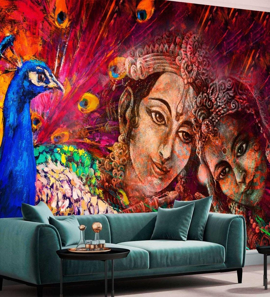 buy multicolour non woven paper 5x9 feet radha krishna wallpaper by zara online spiritual wallpapers furnishings home decor pepperfry product multicolour non woven paper 5x9 feet radha krishna wallpaper