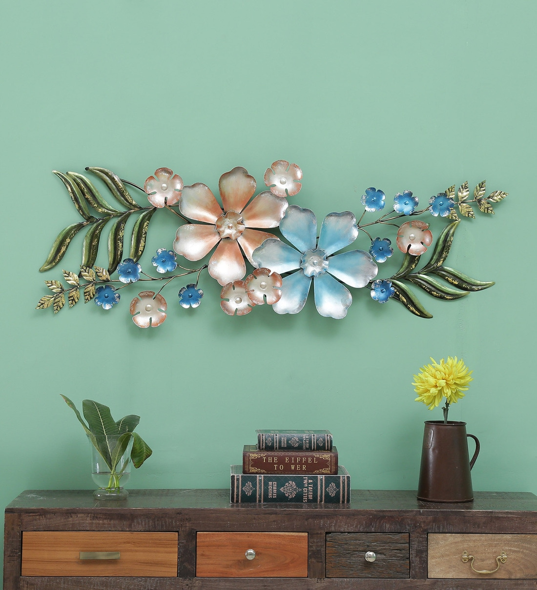 Buy Wrought Iron Floral In Multicolour Wall Art By The Shining Rays Online Floral Metal Art Metal Wall Art Home Decor Pepperfry Product